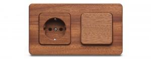Nieuw houten stopcontact Mahonie